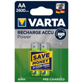 Аккумулятор VARTA RECHARGE ACCU Power HR6 NiMH 2600 mAh BL-2