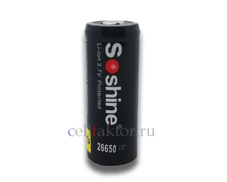 Аккумулятор Li-Ion SOSHINE 26650-PCM 5500mAh