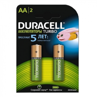 Аккумулятор NiMH DURACELL TURBO HR6 2500 мAч BL-2