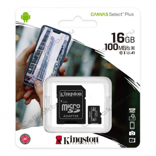 Карта памяти KINGSTON MicroSDHC Canvas Select Plus 16Gb Class 10