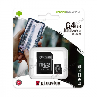 Карта памяти KINGSTON MicroSDXC 64Gb Canvas Select Plus Class 10