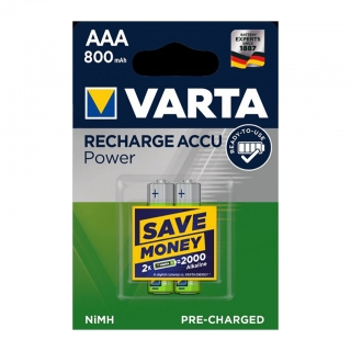Аккумулятор VARTA RECHARGE ACCU Power HR03 NiMH 800mAh BL-2