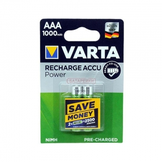 Аккумулятор VARTA RECHARGE ACCU Power HR03 NiMH 1000 mAh BL-2