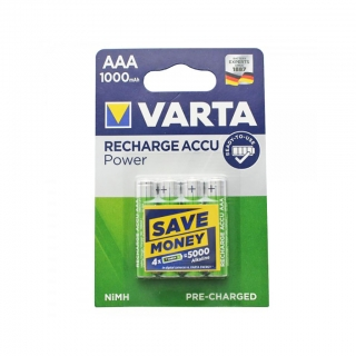 Аккумулятор VARTA RECHARGE ACCU Power HR03 NiMH 1000 mAh BL-4