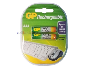 Аккумулятор GP AAA/HR03 75AAAHС-2CR2 750mAh BL-2